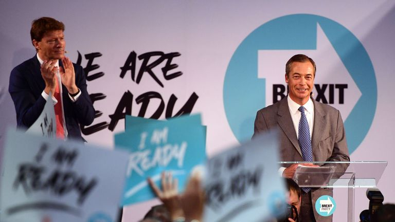 LONDON, ENGLAND - AUGUST 27: Brexit Party chairman Richard Tice applauds as Leader of the Brexit Party, Nigel Farage speaks onstage on August 27, 2019 in London, England. The Brexit Party conference held at the Emmanuel Centre is due to reveal plans for a future general election. (Photo by Leon Neal/Getty Images)