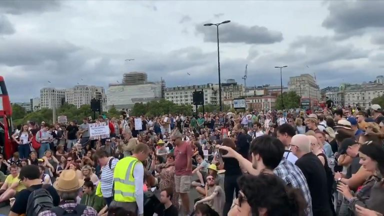 Protesters shut down central London sites as thousands across UK tell Boris Johnson to 'stop coup'