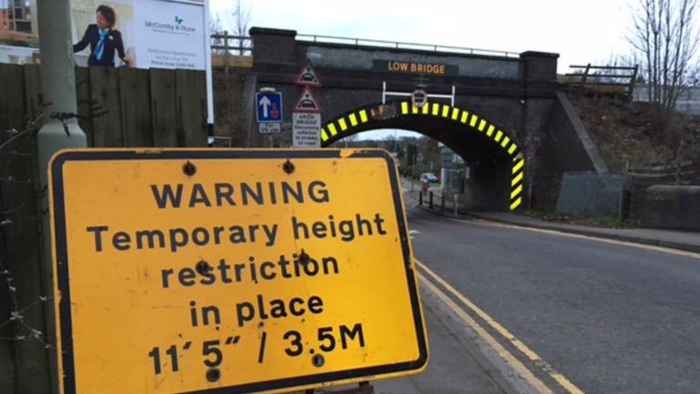 A lorry hits a bridge despite it displaying large fluorescent yellow warning. Pic: Network Rail