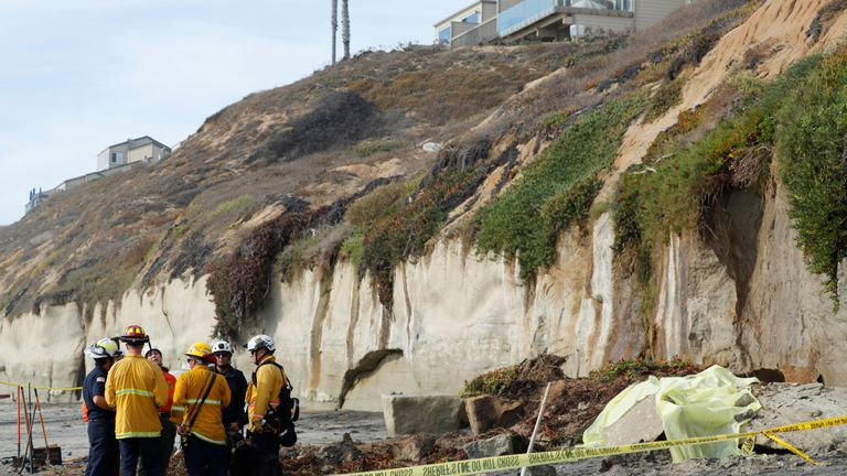 Three dead as cliff collapses on to surfing beach