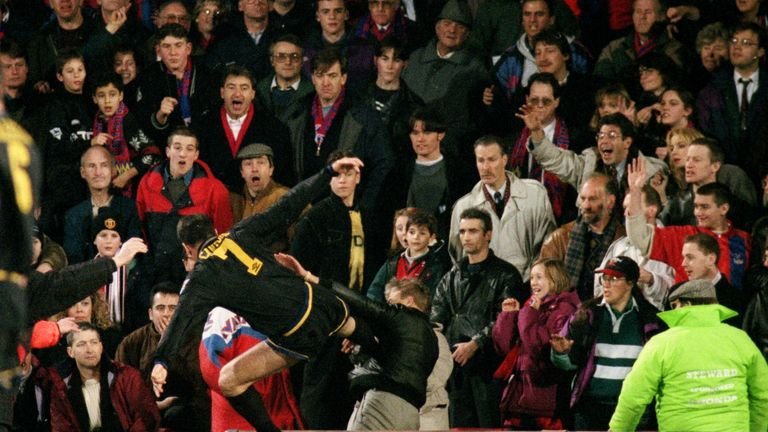 Eric Cantona kung fu kicks Crystal Palace fan Matthew Simmons following abuse after being sent off in 1995