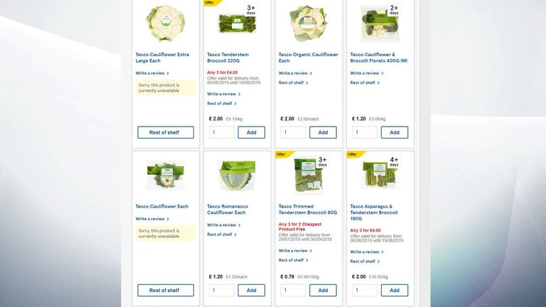 "Standard cauliflowers are ""currently unavailable"" online at Tesco"