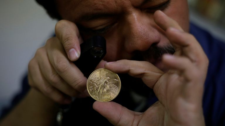 The gold coins, or centenarios, were released to mark 100 years of Mexico's independence. File pic
