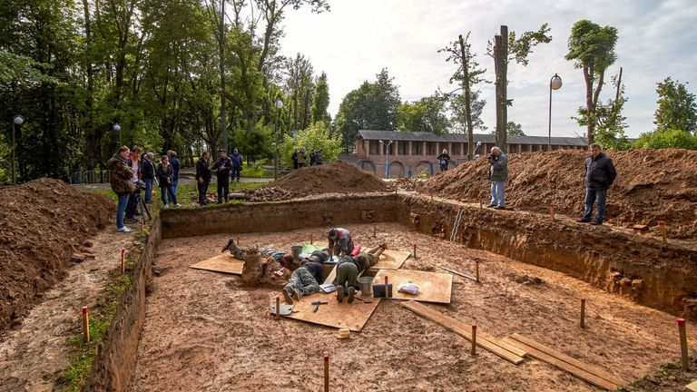 Archaeologists work at a site of the supposed burial place of French General Charles Etienne Gudin de la Sablonniere in Smolensk in July