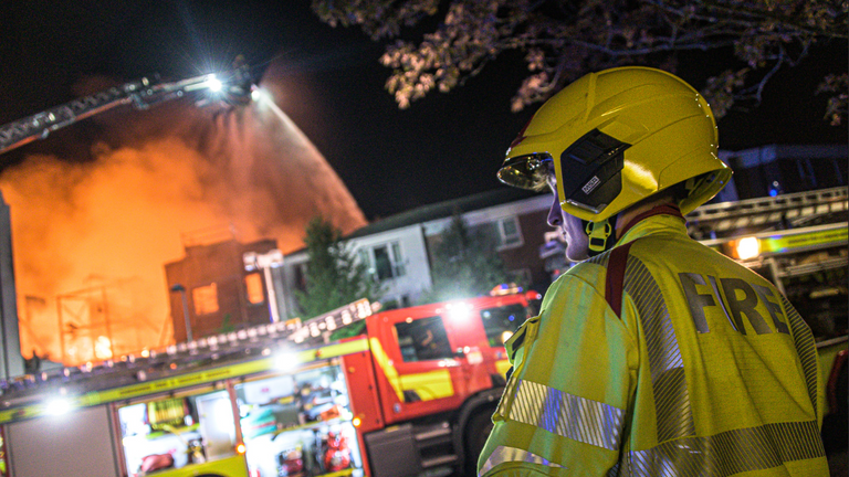 Firefighters battled through the night to contain the blaze. Pic: Cheshire Fire Service