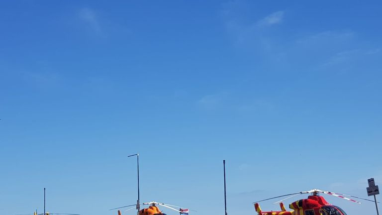 Three air ambulances have been seen landing near the beach. Pic: @sethsteele1986