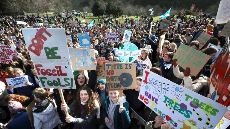 Students at a global school strike for climate change at the Scottish Parliament in Edinburgh in March