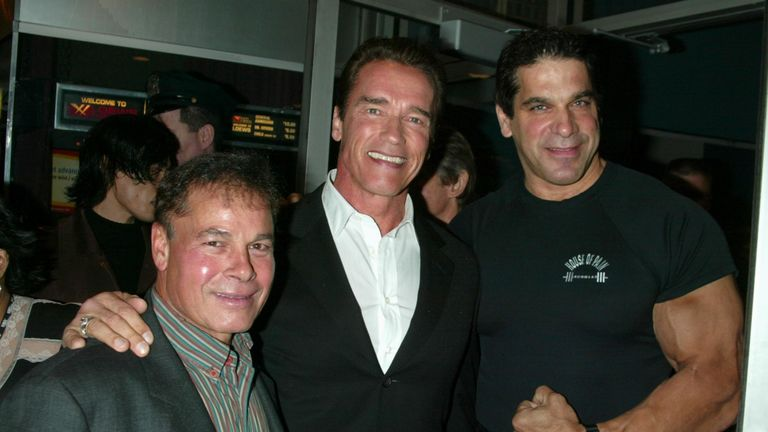 Franco Columbu (L) pictured with Arnold Schwarzenegger and Louis Ferrigno in 2002