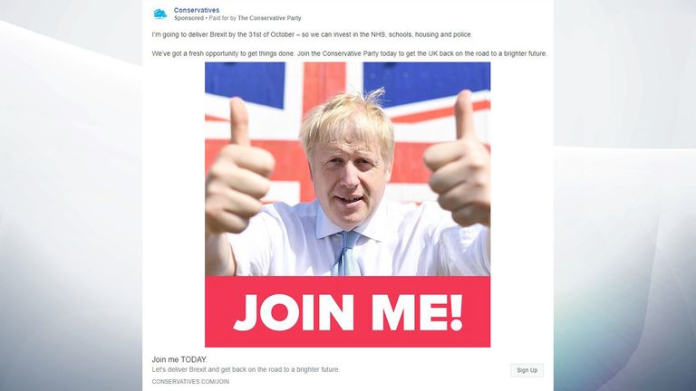 Boris Johnson features prominently on the Conservatives' adverts. Pic: Conservative Party
