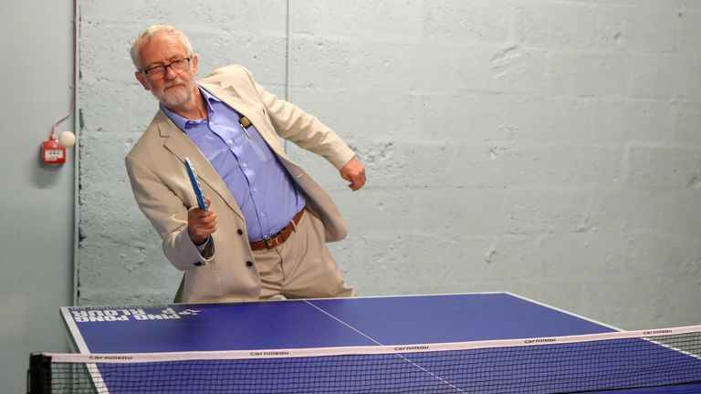 The Labour leader also tried his hand at table tennis during his trip to Bolton