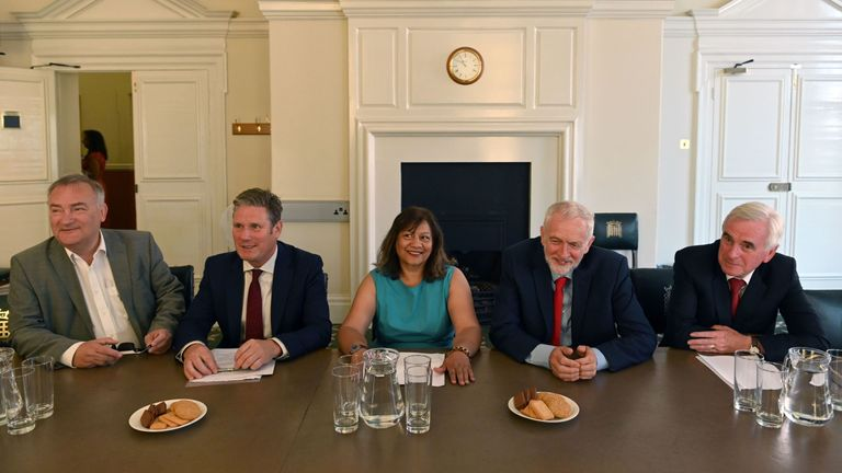 Britain's opposition Labour Party leader, Jeremy Corbyn (2R) sits with members of his shadow cabinet (L-R) shadow Chief Whip Nick Brown, shadoe Brexit minister Keir Starmer, shadow Leader of the House of Commons Valerie Vaz, and shadow Chancellor John McDonnell, as they pose for a photograph while preparing to meet with leaders of Britain's other political parties to discuss options for Brexit, in Portcullis House, central London on August 27, 2019. - Labour leader Jeremy Corbyn will on Tuesday