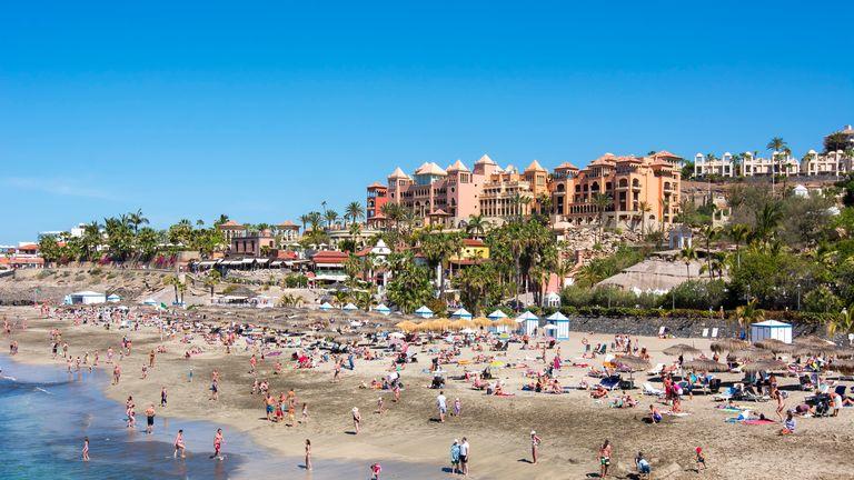 El Duque beach in Costa Adeje, Tenerife, Spain