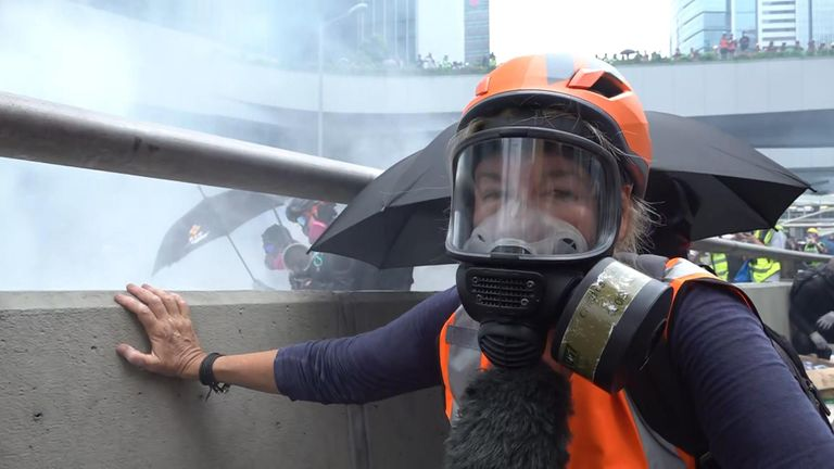 Sky's special correspondent Alex Crawford reports from the middle of clashes between anti-government protesters and riot police in Hong Kong