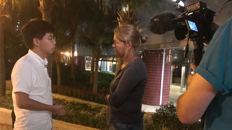 Hong Kong activist Joshua Wong with Sky's Alex Crawford