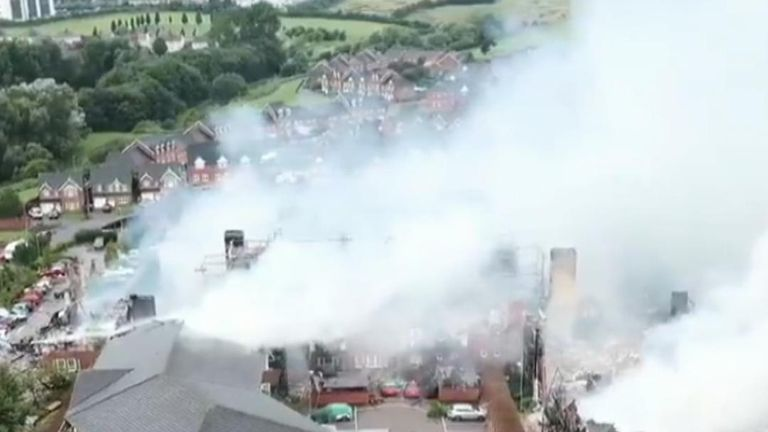 Drone shows extent of fire damage to retirement complex in Crewe