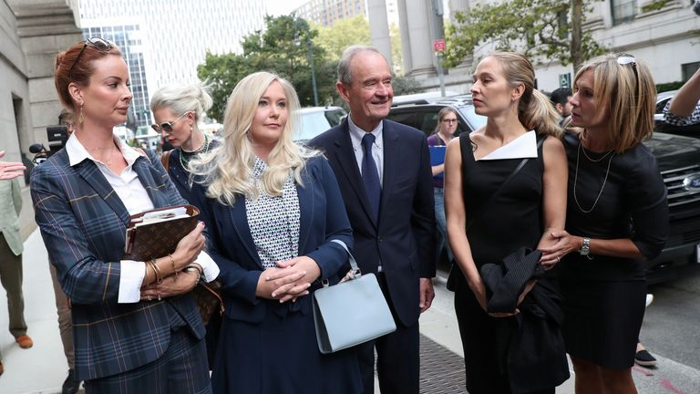 Lawyer David Boies arrives at court with clients Virginia Giuffre and Annie Farmer