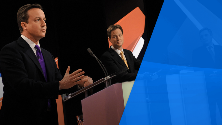 David Cameron appeared in the Sky News TV debates