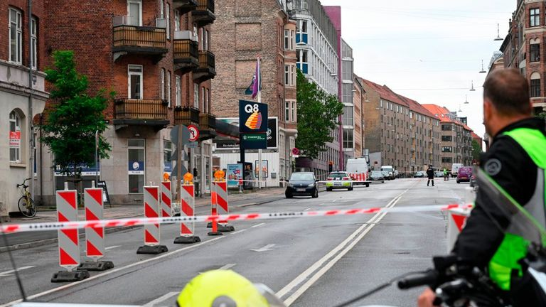 Police cordoned off an area on Tagensvej in Copenhagen after the explosion