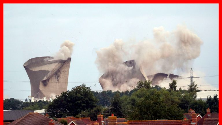 PABest The cooling towers at the disused coal-fired Didcot power station in Oxfordshire are demolished. PRESS ASSOCIATION Photo. Picture date: Sunday August 18, 2019. Demolition work began on the remains of the coal-fired power station where four workers were killed when it collapsed several years ago. Christopher Huxtable, 33, from Swansea, South Wales, Kenneth Cresswell, 57, and John Shaw, 61, both from Rotherham, South Yorkshire, and Michael Collings, 53, from Saltburn-by-the-Sea, Teesside, d