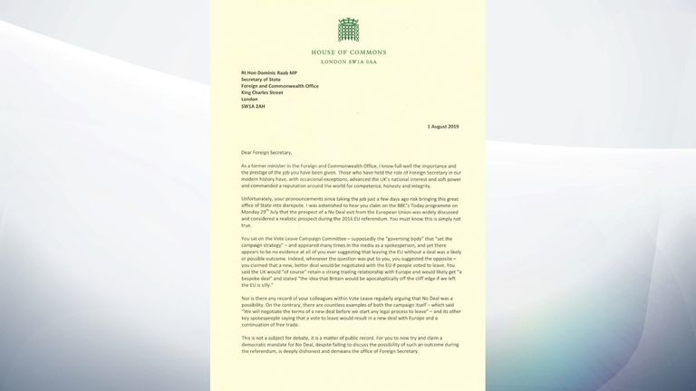 Letter from Ben Bradshaw to Dominic Raab saying he misled the public by claiming he warned of the possibility of a no-deal Brexit before the referendum