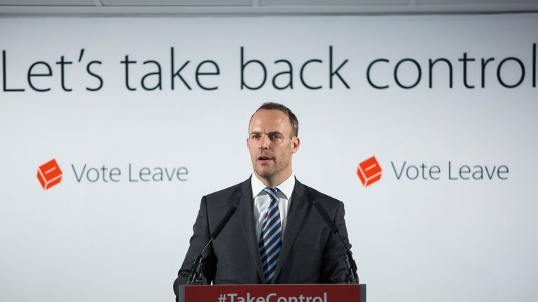 LONDON, ENGLAND - JUNE 08: Justice minister Dominic Raab gives a speech at the 'Vote Leave' campaign headquarters in Westminster on June 8, 2016 in London, England. Mr Raab was today joined by Justice Secretary Michael Gove as they made a case for Britain leaving the European Union on the basis of increased border control and security. Britain will go to the polls in a referendum on the 23rd of June on whether or not to leave the European Union