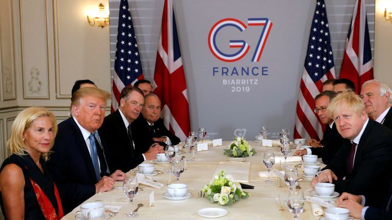 Donald Trump and Boris Johnson meet at the G7 summit