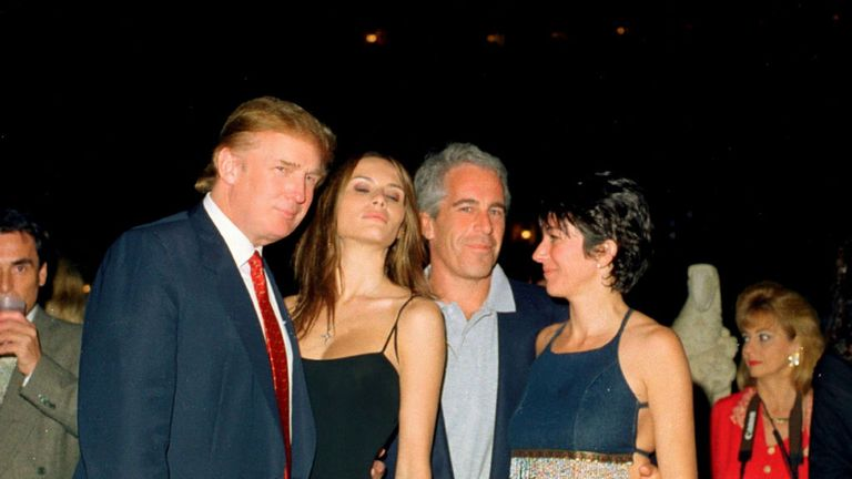 Donald and Melania Trump with Epstein and Ghislaine Maxwell in Florida in 2000