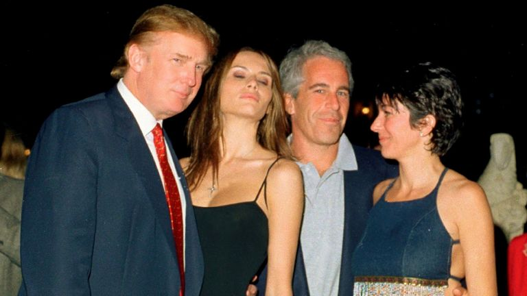 Donald Trump, Melania Trump, Jeffrey Epstein, and Ghislaine Maxwell pose together at the Mar-a-Lago club, Palm Beach, Florida, February 12, 2000