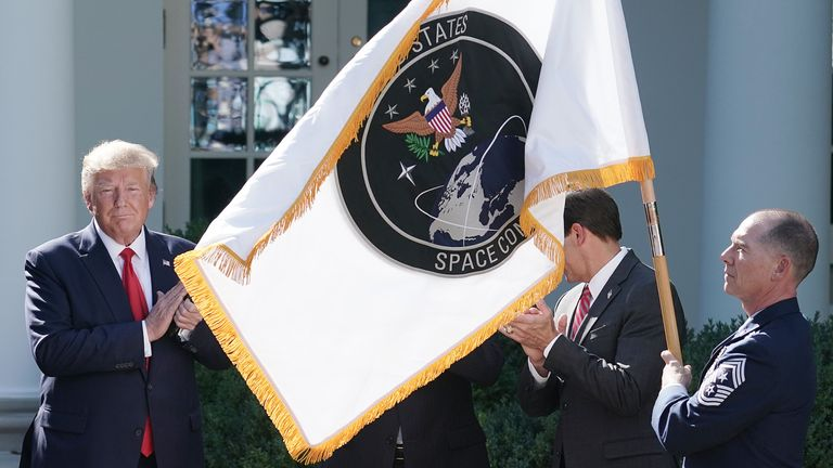 The US Space Command flag was unveiled during the announcement