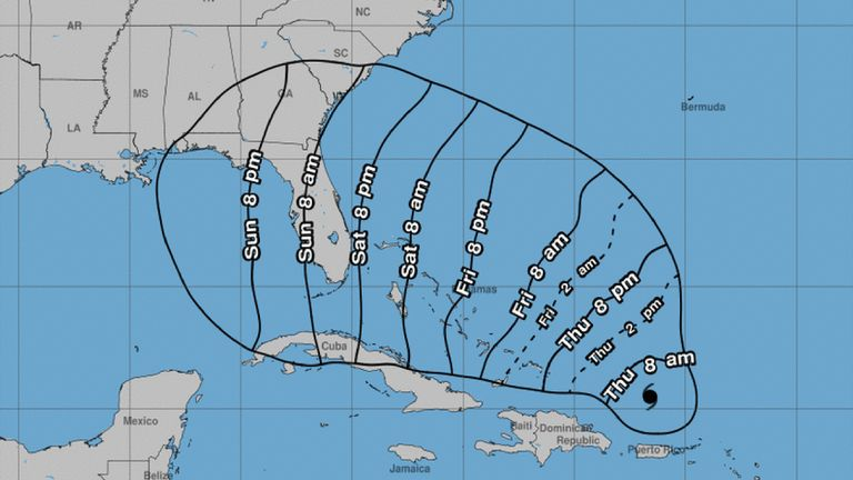 A National Hurricane Center prediction of the earliest arrival time for Dorian