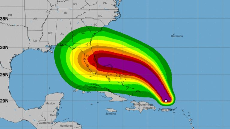 A National Hurricane Center prediction of the path of Hurricane Dorian