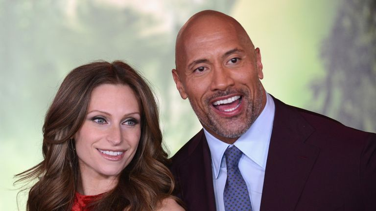 Dwayne The Rock Johnson and Lauren Hashian at the premiere of Jumanji: Welcome To The Jungle in Hollywood