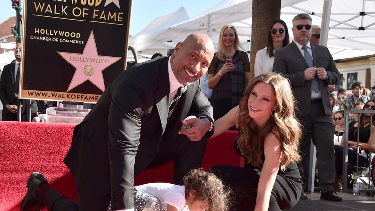 Dwayne The Rock Johnson, Lauren Hashian and daughter Jasmine Johnson as actor gets 2,624th star on the Hollywood Walk of Fame