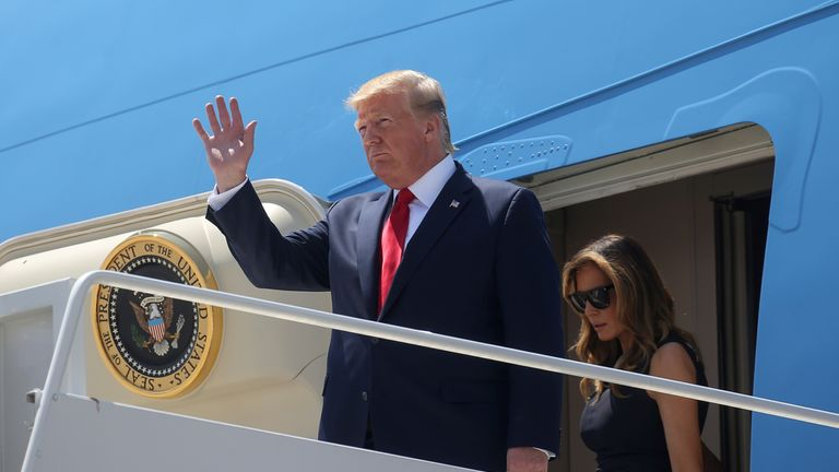Donald and Melania Trump arriving in El Paso