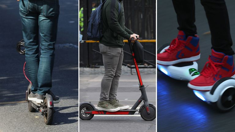 Hundreds of incidents involving electric scooters, hoverboards and Segways are being reported to UK police each year