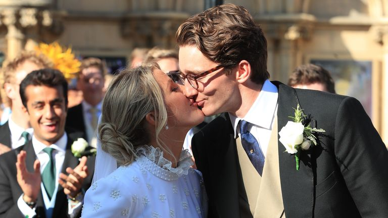 Ellie Goulding kisses now husband Caspar Jopling