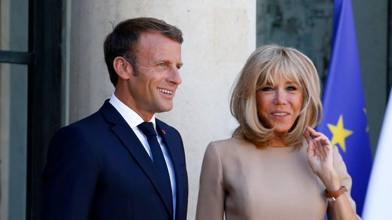French President Emmanuel Macron Receives Kyriakos Mitsotakis, Greece Prime Minister At Elysee Palace In Paris