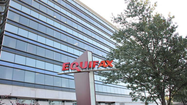 Sign with logo and a portion of the main building are visible at the headquarters of credit bureau Equifax in downtown Atlanta, Georgia, September 20, 2017. In September of 2017, a data breach at Equifax exposed the personal information of thousands of customers. (Photo via Smith Collection/Gado/Getty Images)