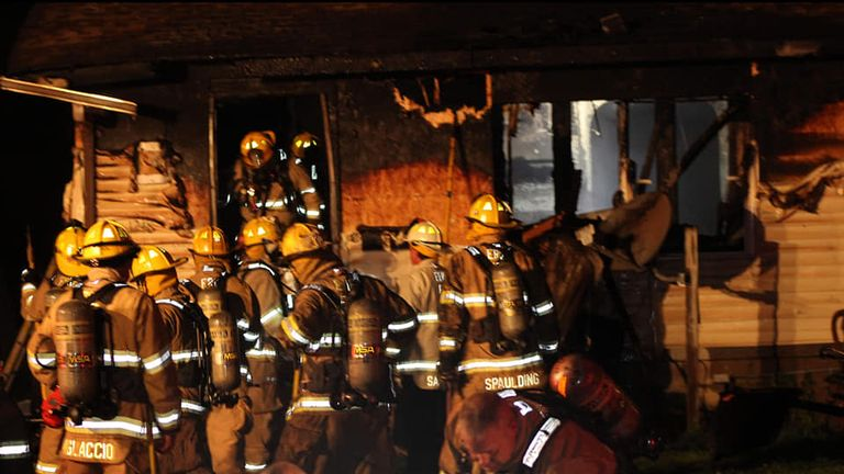Firefighters tackle the blaze in the early hours of the morning. Pic: Scooter Blakely/Erie fire department