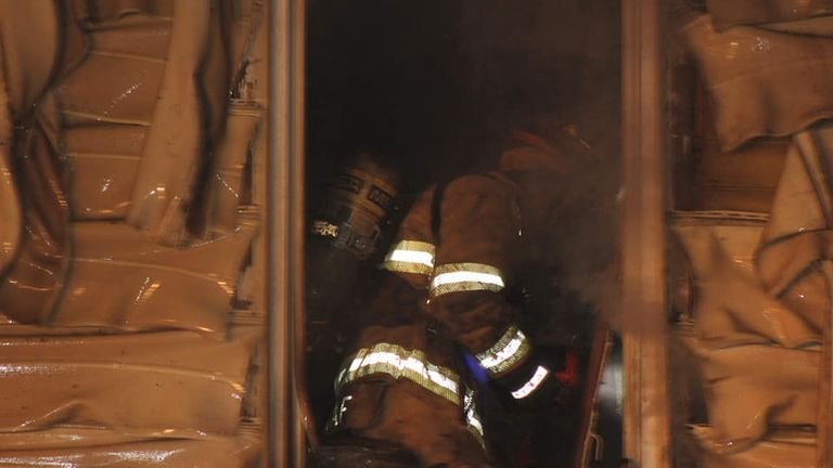 The fire was reported at about 1.15am on Sunday. Pic: Scooter Blakely/Erie fire department