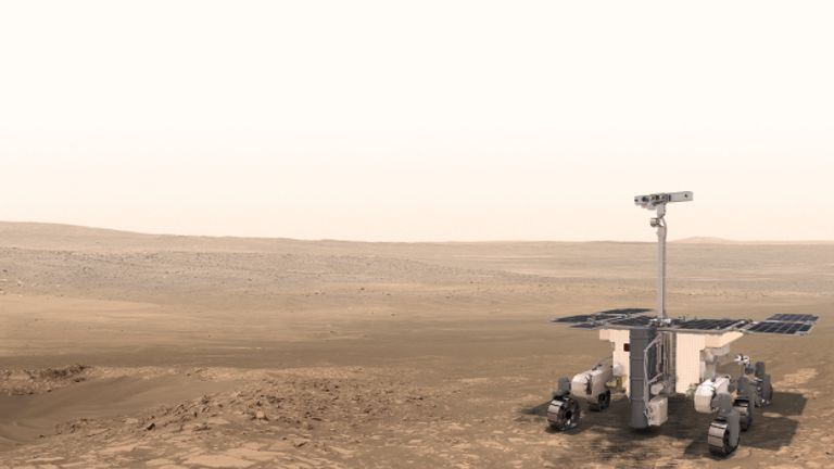 An artist's impression of the ExoMars rover on the red planet, where it is due to land next year