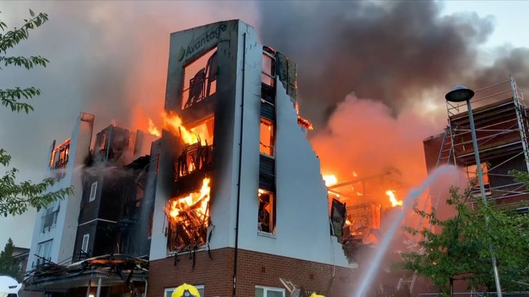 A total of 150 elderly residents had to be evacuated from a retirement care home after a fire broke out in the roof space of the three-storey building.