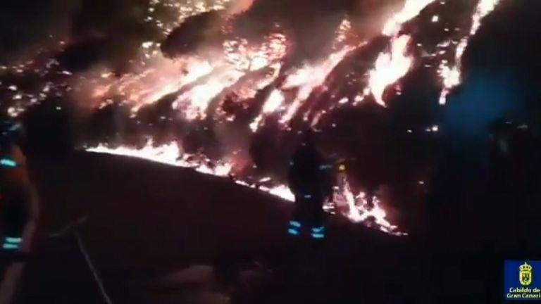 Firefighters battling raging fire
