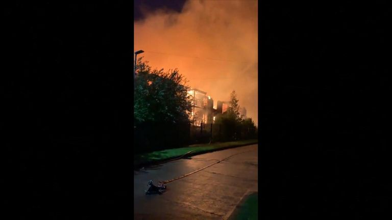 150 people living at a retirement complex in Cheshire have been evacuated from their homes after the building was ravaged by fire.