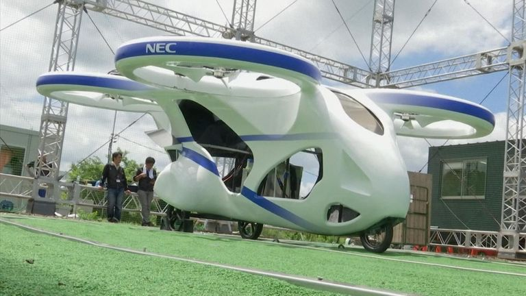 The flying car was unveiled in front of journalists in Japan