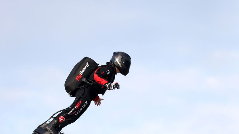 Franky Zapata: French hoverboard inventor successfully crosses the Channel for the first time