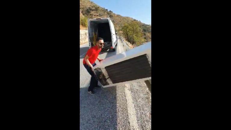 The man through the fridge down a hillside. Pic: Guardia Civil