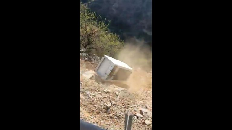 The fridge skittered down the hill. Pic: Guardia Civil