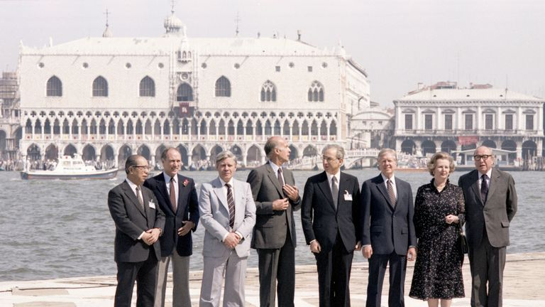 VENICE, ITALY - JUNE 22:  (L-R) Saburo Okita, Pierre Elliot Trudeau, Helmut Schmidt, Valéry Giscard D'Estaing, Francesco Cossiga, Jimmy Carter, Margaret Thatcher and Roy Jenkins attend the 1980 G7 Summit on June 22, 1980, San Giorgio Island, Venice, Italy.  (Photo by Archivio Cameraphoto Epoche/Hulton Archive)