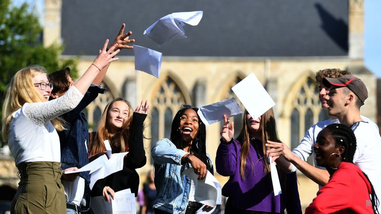 Pupils celebrate their results at Norwich School in Norfolk